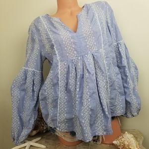 GAP embroidered Boho chambray popover tunic Sz M